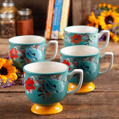 THE PIONEER WOMAN® Set of 4 Flea Market 15 oz Footed Decorated Coffee Mugs- NEW