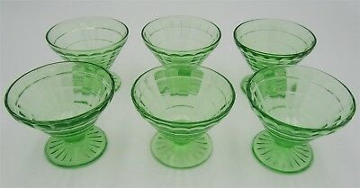 6 Block Optic Footed Sherbets by Anchor Hocking Green Depression