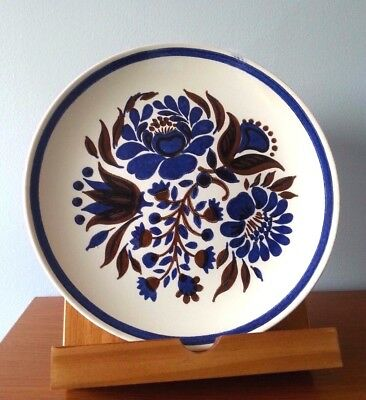 VINTAGE CAVALIER IRONSTONE Cobalt Blue/Brown Floral 10'' Plates. Royal China USA