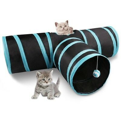 Miaosun Cat Tunnel, 3 Way Collapsible Pet Cat Play Tunnel with Ringing Ball, S