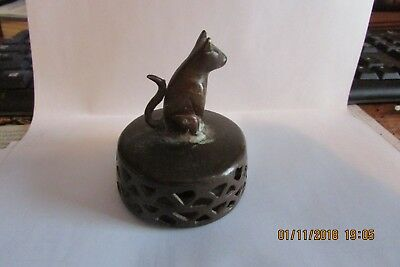 ANTIQUE BRASS FOOT SCRUBBER with CAT FIGURINE HANDLE