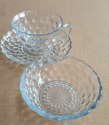 Hocking Bubble  - light blue cup /saucer/ berry bowl 3 piece lot