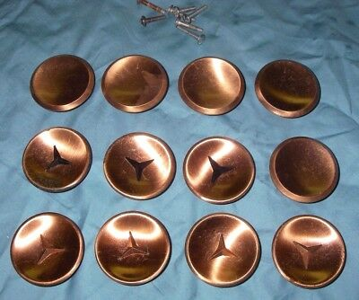 "11-Vintage 2"" Round COPPER KNOBS Concave Dished Atomic Mid Century Amerock"
