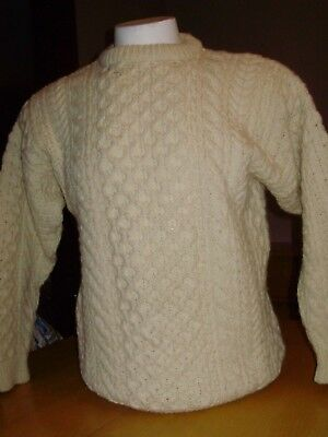 Vintage Clady Knit Wool Cable Knit Fisherman Shepard Sweater Made In Ireland