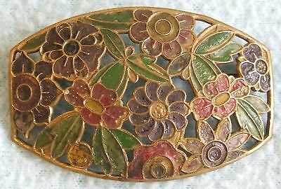 Vintage 1930s Art Deco Colourful Painted FLORAL Design BROOCH