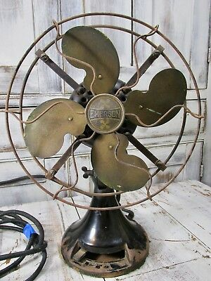 "1930's 10"" Industrial Emerson Brass Blade Articulated Fan No K60693 Type 2946"