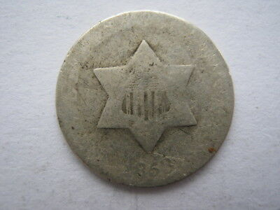 United States 1858 slver 3 Cents Poor