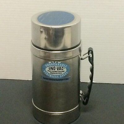 Uno-Vac Food Thermos 20 ounce Unbreakable Stainless Steel No 175 Vintage