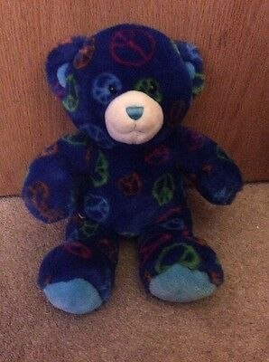 Build-A-Bear Workshop Dark Blue Rainbow Peace Sign Teddy Pink Orange Green Plush