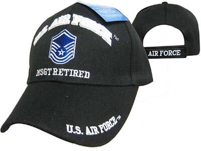 U.S. Air Force MSGT Retired Black USAF Embroidered Ball Cap Hat CAP540B (TOPW)