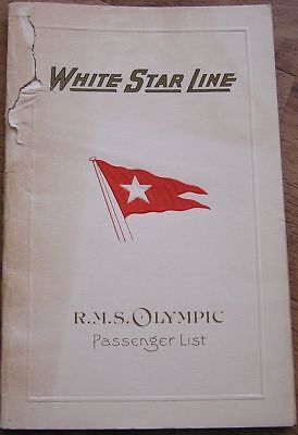 White Star Line 1927 Olympic Passenger List W/ Vincent Astor Father Died Titanic