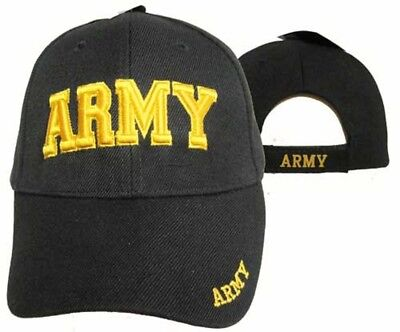 U.S. Army Gold Letters Black Embroidered Cap Hat CAP601DG (TOPW)
