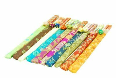 20 10 pairs Elegant Bamboo Chopsticks With Brocade Pouch by Asian Home [ Colors