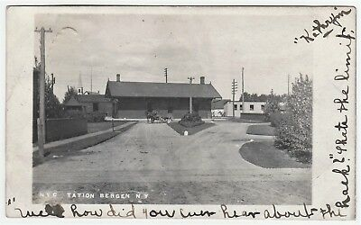 RPPC - Real Photo NYC Train Railroad Station Depot - Bergen NY 1905 Genesee Co