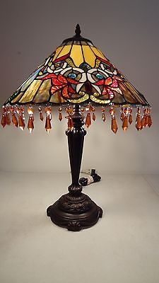 Tiffany-Style Stained Glass Acropolis Beaded Shade Table Lamp-Multi Colored