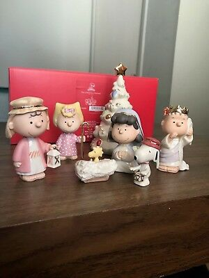 Lenox The Christmas Pageant Peanuts 7pc Figurine Set Snoopy BRAND NEW IN BOX