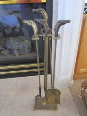 Brass Horse Head Fire Place Poker Set  Fireplace Tools with Stand