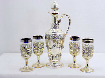 Vintage 5 Piece Set Holiday Imports Silver Plated Decanter & Snifters Cordials