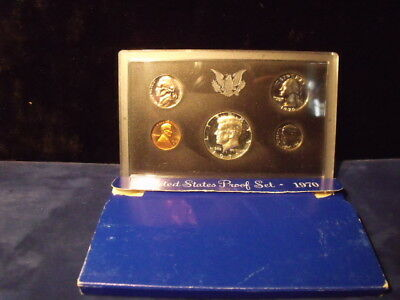 1970,US Coin Proof Set,5 Coin Set,40% Silver Kennedy Half CAMEO HALF, Free Ship,