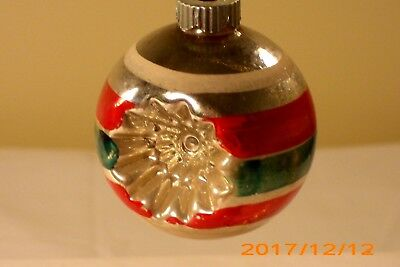 Vtg Small Double Indent Glass Christmas Ornament;shiny Brite