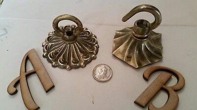 1 of 2 ANTIQUE ceiling rose Chandelier hook old French small ornate vintage Ab