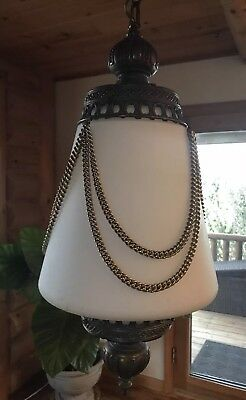 Vintage Antique Mid Century Hanging Swag Lamp Light Pull Chain String Large