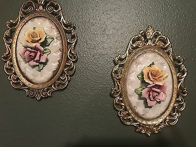 Pair of Antique Vintage Ornate Pink and Yellow Flower Floral Gold Ornate Frames