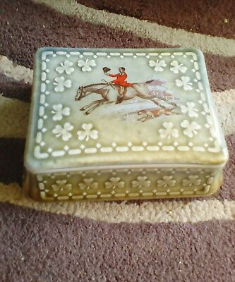 Wade irish Porcelain Lidded Cigarette/Trinket Box with  Fox Hunting Scene.