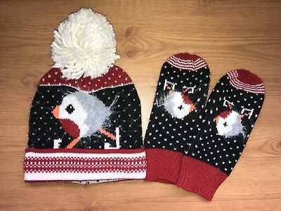 Next I've Skating Robin Hat & Mittens Gloves Set Onesize Bobble Red & Black