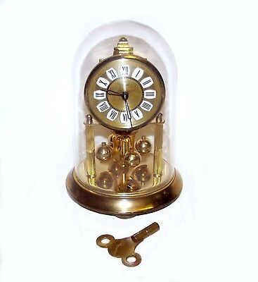 "German Kern & Sohn (KS) Brass Mantle Clock, Glass Dome & Original Key, 7"" High"