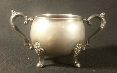 Vintage Leonard Silver Company Silver Plated Double Handled Sugar Bowl