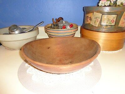 """ANTIQUE PRIMITIVE OUT OF ROUND HAND TURNED WOODEN  DOUGH BOWL  13"""" x 4"""""""