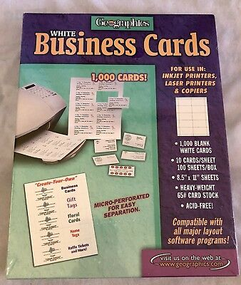 NEW Geographics Business Cards - 1000 Blank White Cards - FAST SHIPPING!