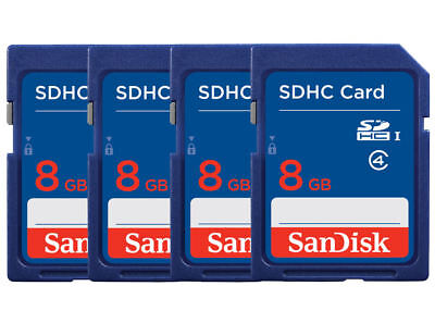 Lot of 4 SanDisk 8GB CLASS 4 SD SDHC Flash Memory Camera Card PACK