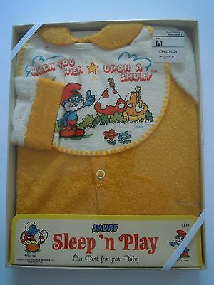Rare Vintage 1981 Smurf Sleep N Play Baby Outfit Size M