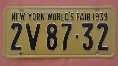Vintage 1939 New York World's Fair License Plate Repainted - Single only