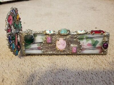 Ornate Stained Glass Kaleidoscope Adorned with Antique glass jewels and cameo