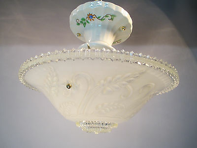 Vintage Art Deco Depression Era Three Chain Ceiling Light Fixture Floral Design