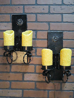 Vintage Antique Pair Gothic Spanish Revival Wall Sconce Lights Calif. Monterey