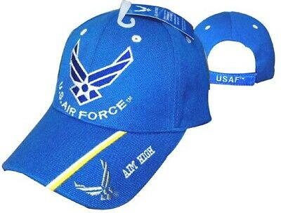 """U.S. Air Force Wings """"Aim High"""" on Bill Royal Blue Embroidered Cap CAP603L Hat"""