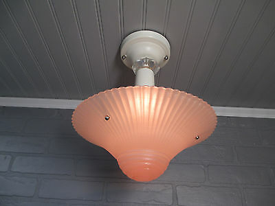 "Vintage Art Deco Semi Flush Mount Ceiling Light Fixture Low Profile 12 3/4"" Pink"