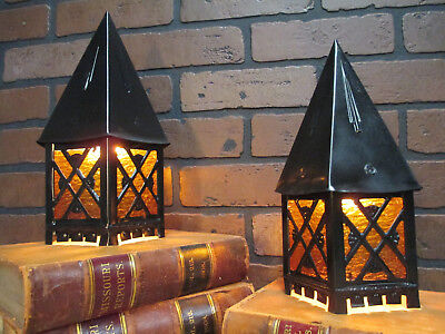 "Vintage Antique Pair LINCOLN Porch Lights Mission Bungalow Arts & Crafts 11"" T"