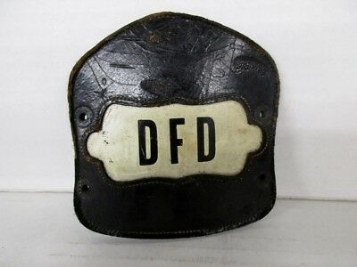 Vintage Fireman Helmet Leather Badge Danville IL Fire Dept. OBSOLETE