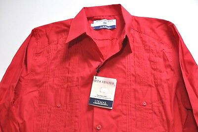 New Uxmal by Manchester 4 pocket caribbean wear shirt red made in Mexico Mens M
