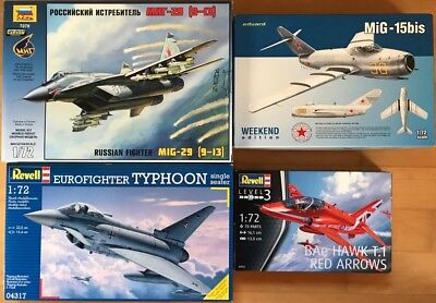 Konvolut Mig-29, Mig-15, Eurofighter und BAe Hawk in 1:72