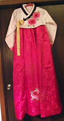 BEAUTIFUL Hanbok Traditional Korean Dress Womens Pink Ivory Applied Flowers Sm