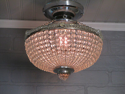 Vintage Antique Crystal Beaded Bowl Chandelier Semi Flush Mount Chrome Fixture