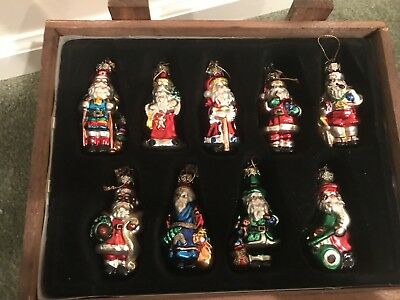 2002 Thomas Pacconi Classics 18 Blown Glass Ornaments Santas of the World