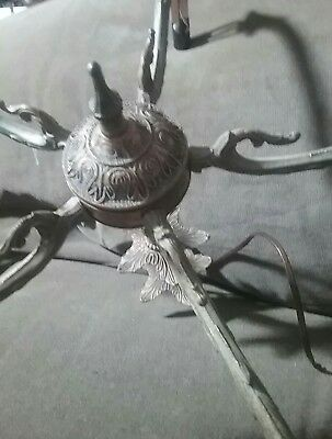 Antique Vintage Collapsible Folding 5 Arm Spanish Brass Chandelier