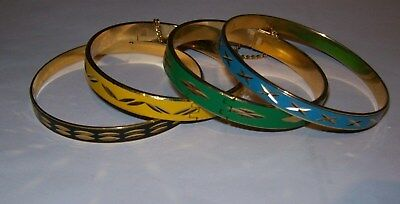 4 X  Vintage 1970S Enamel  Bangles With Saftey Chains Superb Condition